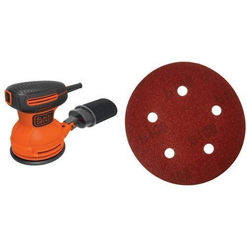 BLACK+DECKER BDERO100 Random Orbit Sander, 5-Inch with PORTER-CABLE 735501025 5-Inch Hook & Loop Sandpaper, 100 Grit with 5 Holes (25-Pack)