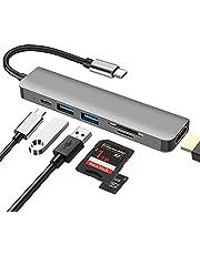 6 in 1 Multiporta USB C Hub ,DEMKICO Adattatore USB C a HDMI con 4K HDMI, lettore SD/TF, 2 porte USB 3.0, ricarica PD da 100W, compatibile con MacBook Pro/Macbook Air/XPS e altri dispositivi USB C