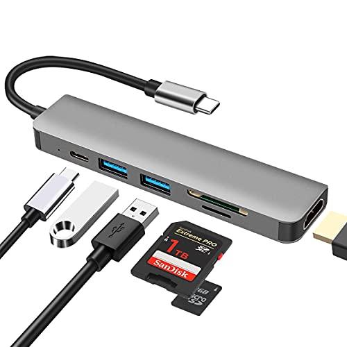 6 in 1 Multiporta USB C Hub ,DEMKICO Adattatore USB C a HDMI con 4K HDMI, lettore SD/TF, porte USB 3.0 & 2.0, ricarica PD da 100W, compatibile con MacBook Pro/Macbook Air/XPS e altri dispositivi USB C