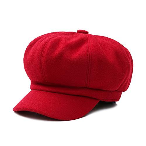 DORRISO Elegante Mujer Gorra Boina Primavera Otoño Invierno Viajar Vacaciones Compras Ocio Beret Gorra de Boina Ajustable 54-60CM Mujer Sombrero Octogonal Rojo