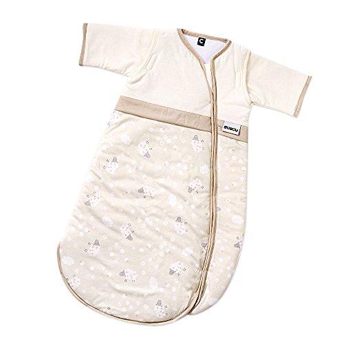Gesslein Bubou Design 206: Temperaturregulierender Ganzjahreschlafsack/Schlafsack für Babys/Kinder, Größe 110, Beige mit Schafen