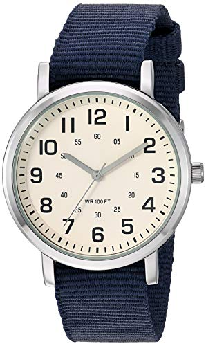 Amazon Essentials Men's Easy to Read Silver-Tone and Navy Blue Nylon Strap Watch