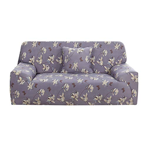 uxcell Printed Sofa Cover Stretch Couch Slipcover Furniture with One Pillow Cover for Chair Loveseat Sofas X-Large Taro Purple