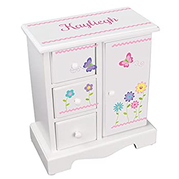 MyBambino Personalized Girls Jewelry Armoire Chest Box with Stemmed Flowers Design