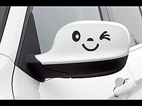 JS Artworks Side View Mirror Winking Smile face Vinyl Decal Sticker (Black)
