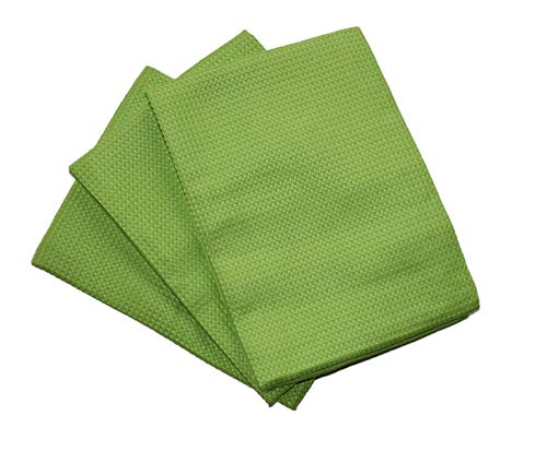 Paños de microfibra de tamaño 68 x 42 cm, sin rayas, para secar y pulir, vajilla de cristal, ollas sin pelusas, paños profesionales de microfibra sin estrías, verde, 68 x 42 cm