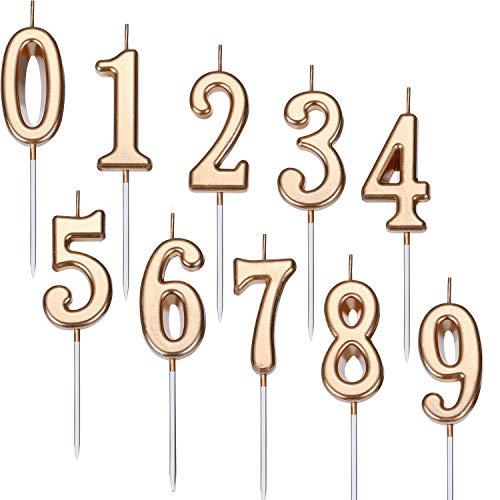 Yaomiao 10 Piezas Velas de Número de Cumpleaños Velas de Número de Pastel Número 0-9 Decoración Brillande de Topper de Pastel para Favores de Fieta Cumpleaños (Marrón)