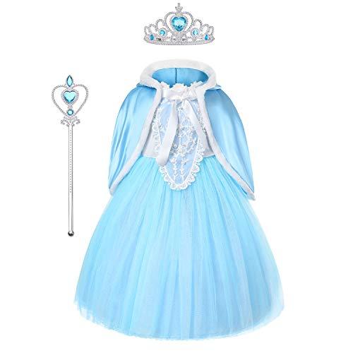 URAQT Princesa Disfraces para Niños, Princesa Disfraz Traje Parte Las Niñas Vestido, Disfraz Infantil para Navidad, Girls Princess Fancy Dress, Azul, 120cm