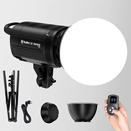 Tolifo - Lámpara LED de 100 W, 5600 K, luz de estudio con interfaz Bowens, difusor de bola, pantalla de lámpara y mando a distancia inalámbrico de 2,4 G, luz continua para YouTube