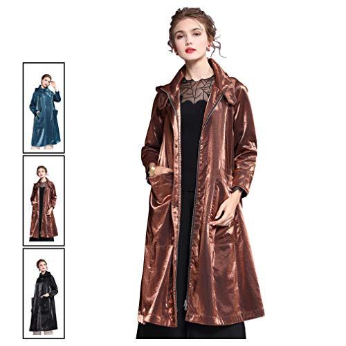 YIXIJIE dames-trenchcoats, middellange windjas, trenchcoat windjack van glanzende stof met ritssluiting