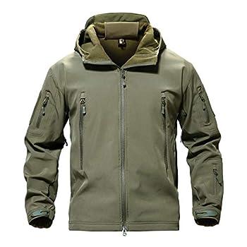 TACVASEN Men Windproof Softshell Tactical Hoodie Fleece Hunting Jacket Coat Army Green,US XL