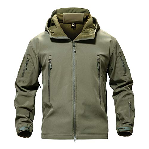 TACVASEN Men Windproof Softshell Tactical Hoodie Fleece Hunting Jacket Coat Army Green,US L