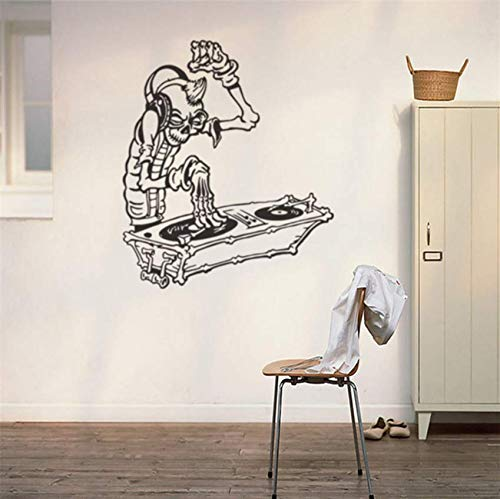 Hkkhkk Skeleton People Listen To MusicVinyl Wall Decal Home Decor Living Room Diy Art Mural Removable Wall Stickers 67X57Cm