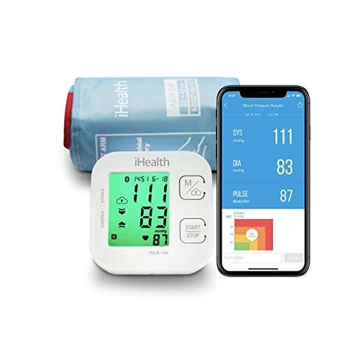 iHealth Track Wireless Upper Arm Blood Pressure Monitor with Wide Range Cuff That fits Standard to Large Adult Arms, Bluetooth Compatible for Apple & Android Devices