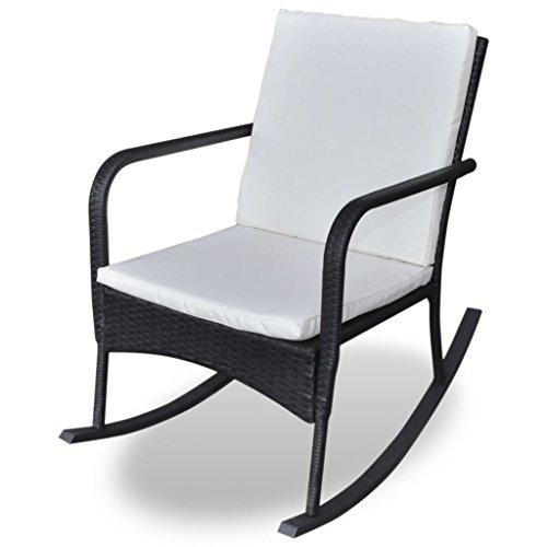 VidaXL schommelstoel polyrotan zwart relaxstoel tuinmeubelen schommelstoel