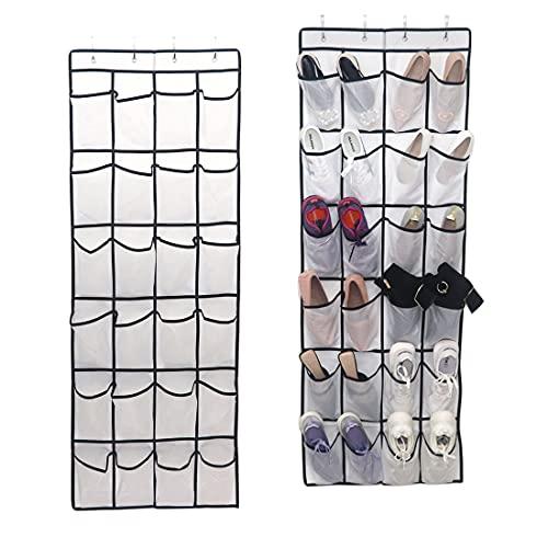 Organizador de zapatos colgado sobre la puerta, organizador colgante para guardar zapatos, estante colgante con 24 bolsillos grandes…