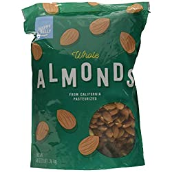Amazon Brand – Happy Belly Whole Raw Almonds, 16 Ounce, Pack of 2