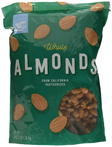 Amazon Brand - Happy Belly Whole Raw Almonds, 16 Ounce, Pack of 2 3