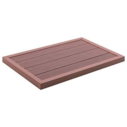 vidaXL Bodenelement für Solardusche rutschfeste Oberfläche Unterseite Bodenplatte Pool Gartendusche Aussendusche Pooldusche Braun 101x63x5,5cm WPC