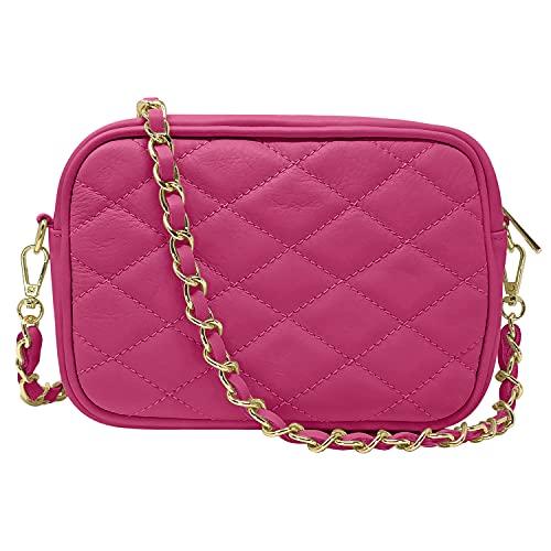 Parubi, Bolso de mujer de piel auténtica acolchada, fabricado en Italia, modelo Nora, bolso de mano pequeño con cadena, bolso bandolera para mujer y niña, elegante, fucsia (Rosa) - PRB2359