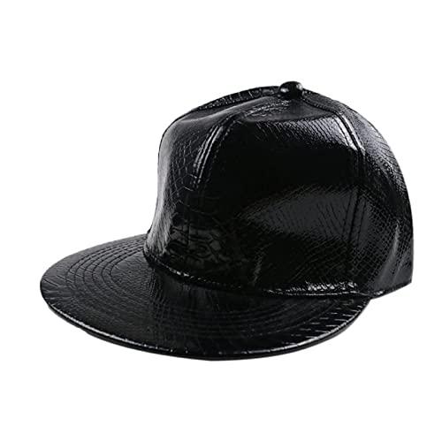 Astemdhj Unisexo Gorras de béisbol Baseball Cap Moda para Hombre Sombrero Patrón De Serpiente Color Sólido Cuero Hip Hop Gorra De Béisbol para Hombre para Hombre Oro Plata Sombreros Brillan