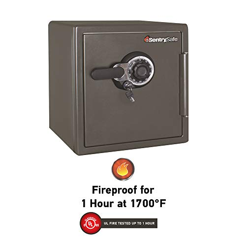 SentrySafe SFW123DSB Fireproof Safe and Waterproof Safe with Dial Combination 1.23 Cubic Feet Gray