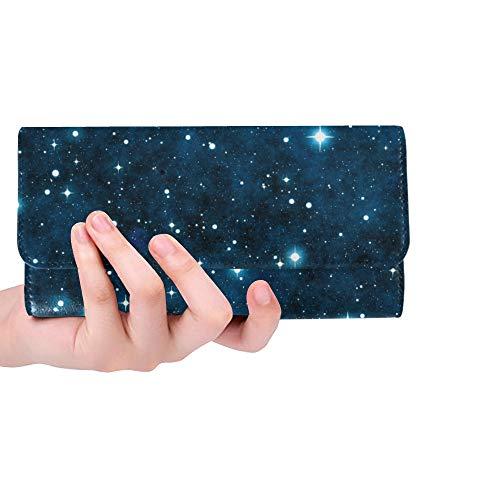Unique Custom Space Galaxy Nebula Starry Stars Pattern Women Trifold Wallet Long Purse Credit Card Holder Case Handbag