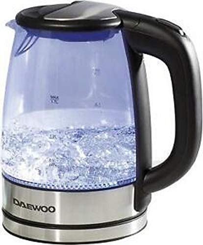 Daewoo Bouilloire électrique en verre à ébullition rapide thé-café 1,7 l Bleu illuminé LED sans fil