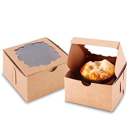 NPLUX 50 Pack Bakery Boxes with Window 4x4x2.5 inches Treat Boxes Mini Cupcake Boxes(Brown)