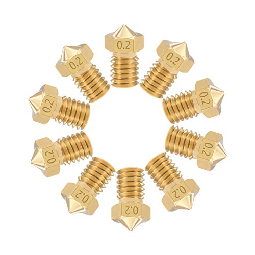 sourcing map 0.2mm 3D Printer Nozzle Head M6 Thread Replacement for V5 V6 1.75mm Extruder Print, Brass 10pcs