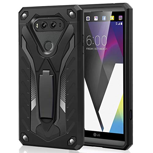 AFARER Case Compatible with LG V20 5.7 inch, Military Grade 12ft Drop Tested Protective Case with Kickstand,Military Armor Dual Layer Protective Cover - Black