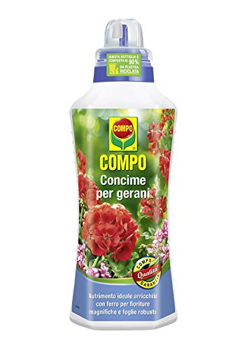 COMPO Concime per Gerani, Liquido, Per fioriture magnifiche e foglie robuste, 1 l