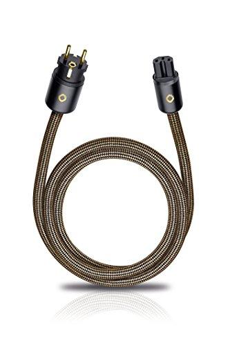 Oehlbach XXL Powercord - High End Stromkabel - HPOCC Netzkabel mit 4mm² Innenleiterquerschnitt & 2-Fach Schirmung, VDE geprüft - Steckertyp C15 (Schuko) auf CEE7/7-1,5m sepiabraun