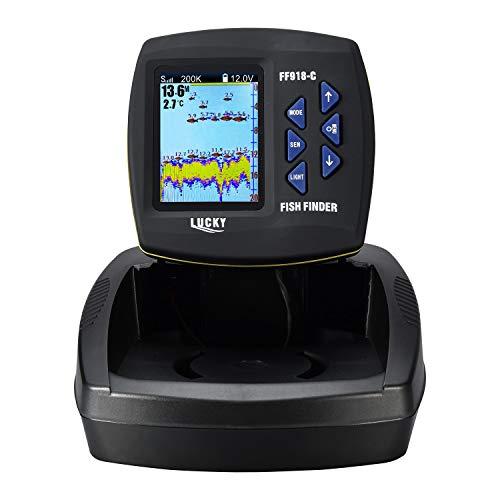 Encontrar peces, profundidad del agua, temperatura del agua, contorno del fondo Fácil de usar y fácil de instalar. Fishfinder de color de 3,5 pulgadas con función de teclado incorporada y cómoda Bonda de haz dual (200/83 kHz) capaz, escaneo de haz es...