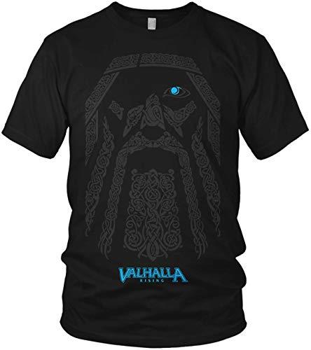The Odin Runen Wikinger Rabe Valhalla Rising Walhalla Vikings Wodan - Herren T-Shirt und Männer Tshirt, Größe:XL, Farbe:Schwarz Valhalla Blau