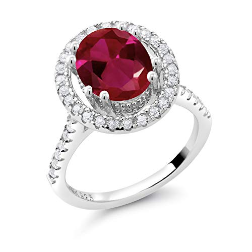 Gem Stone King 925 Sterling Silver Red Created Ruby and White Created Sapphire Women Ring (4.50 Ct Oval, Available in size 5, 6, 7, 8, 9)