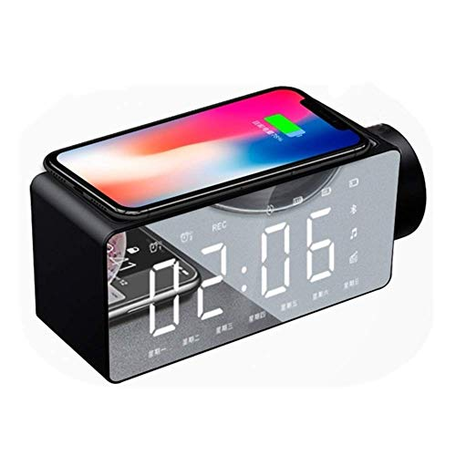MingXinJia Relojes de Cabecera para el Hogar Reloj Despertador Altavoz Audio Altavoz Inteligente de Cabecera Carga Inalámbrica Relojes Despertadores InalámbricosNegro