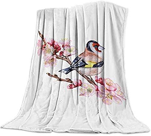 Manta de franela de forro polar de 50x60 pulgadas,pájaro de pie en rama,flor rosa,primavera,arte de acuarela,ligera,suave,acogedora manta para dormitorio universitario,para sala de estar/dormitorio