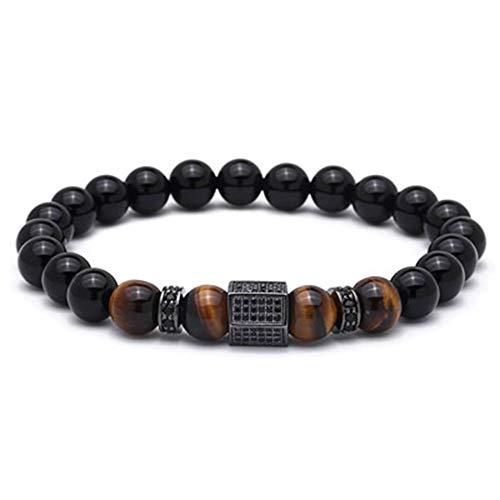 KAHD Armband Armband Herren Pave Einstellung Schwarz Hexagon Naturstein Perlen Armbänder Armreifen Männer, Silber, XS 165Mm