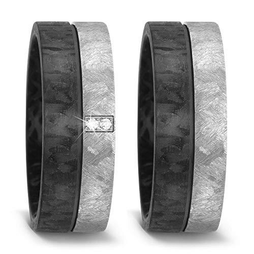 CORE by Schumann Design Trauringe Eheringe aus Titan & Carbon Kombination Bicolor mit echten Diamanten GRATIS Gravur 20002767