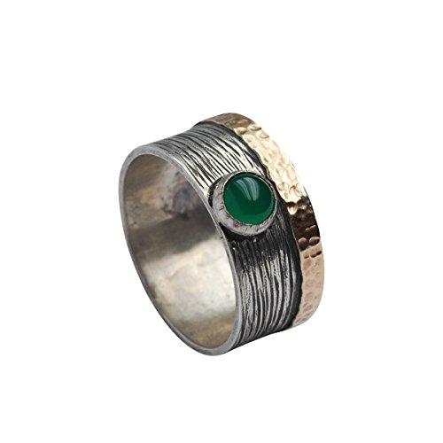 Tiljon Texturierter Achat Ring 925er Silber mit 375er Gold Umrandung Oxidiert Ringgröße 60 (19.1)