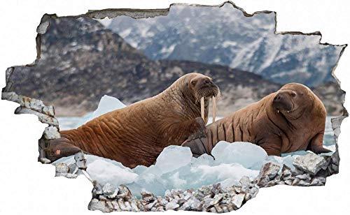 Tatuaje de pared en 3D agujero de la pared Sticker Pegatina Adhesivo Calcomanía Decoración para dormitorio o la sala de estar,Témpano de hielo de leones marinos 60x90cm