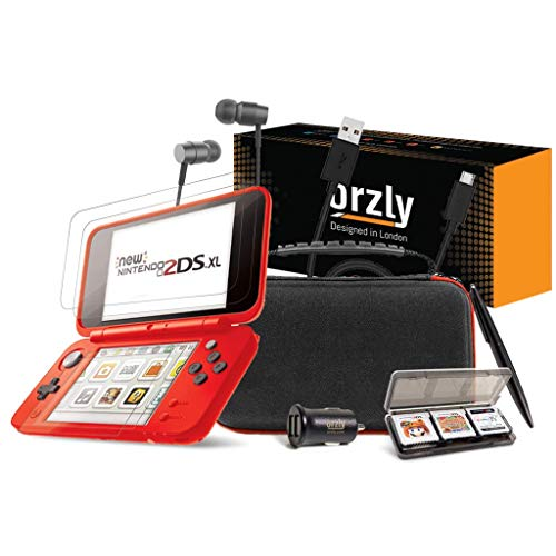 Orzly 2DSXL Zubehör, Ultimate Starter Pack für New Nintendo 2DS XL - (beinhaltet: KFZ-Ladegerät/USB Ladekabel/Konsolenkoffer ROT etc.)