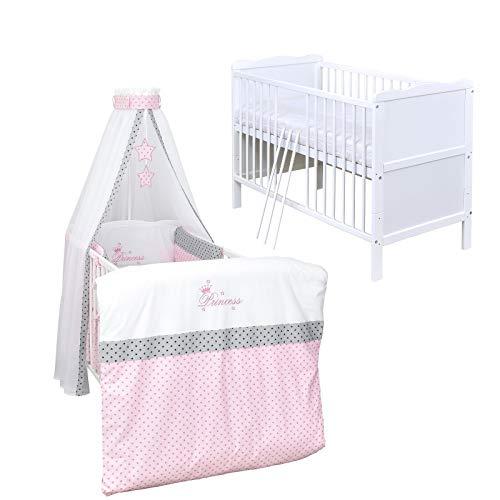 Baby Delux Babybett Komplett Set Kinderbett umbaubar zum Juniorbett weiß 140x70 Bettset Matratze in vielen Designs (Princess Stars)