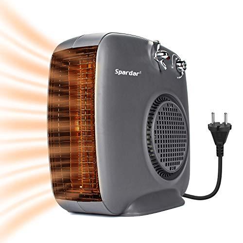 Spardar - Calefactor de cerámica con termostato y protección contra sobrecalentamiento, 1000W / 2000 W de Potencia, Ventilador eléctrico portátil, 3 Modos de calefacción para Oficina, hogar, baño