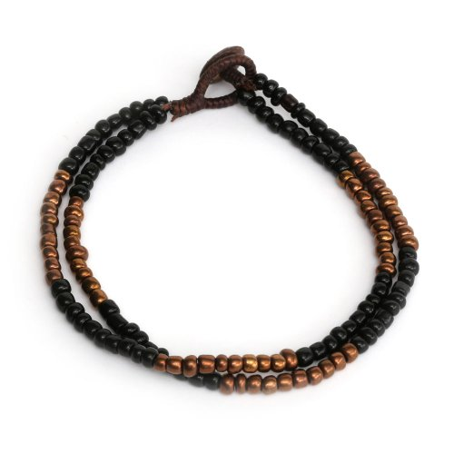 Idin Handmade Anklet - Double-stranded wax cord with black and brown beads handmade anklet