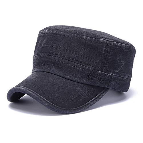 H/A Sombrero Militar de algodón de los Hombres Sombrero de la Escuela Militar Sombrero Military Flat Top Puede Ajustar la Gorra de béisbol CRCOG (Color : Black)