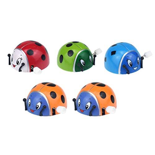 SUPVOX 5 Stücke Aufziehspielzeug Marienkäfer Spielzeug Aufziehtiere Aufziehfigur Wind Up Figur für Baby Kinder (Zufällige Farbe)