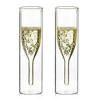 sziqiqi bicchieri flute champagne in cristallo a doppia parete, classici tulip calice, bicchieri trasparenti stemless, bicchieri tostati a mano per matrimoni, bar, doppia parete