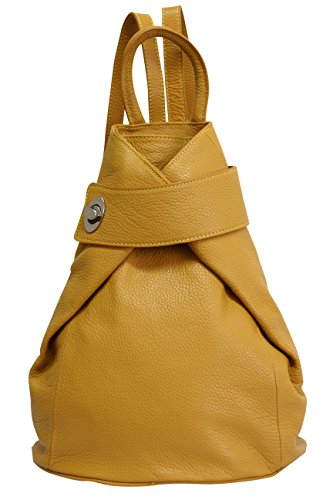 AMBRA Moda echt Leder Damenrucksack CityRucksack Daypack GL014 (Gelb Senf)